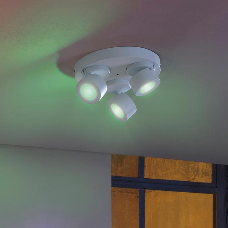 Trio Sancho RGBW LED Spot/Deckenleuchte mit Dimmer, 3 ...
