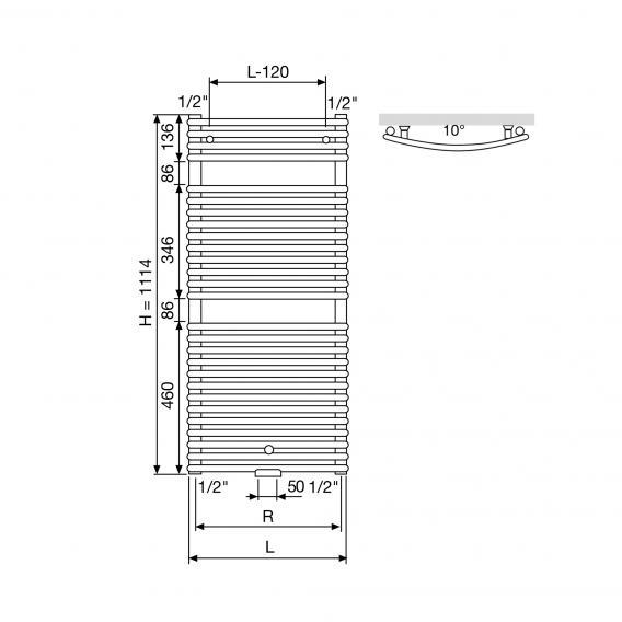 Vasco Agave HRBM Heizkörper, gebogen breite 600 mm, 766 Watt