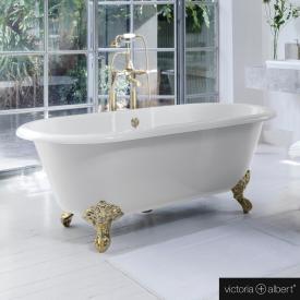 Victoria + Albert Cheshire Freistehende Oval-Badewanne weiß glanz/innen weiß glanz, mit messing polierten Metall Füßen