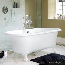 Victoria + Albert Cheshire Freistehende Oval-Badewanne weiß glanz/innen weiß glanz, mit weißen Metall Füßen
