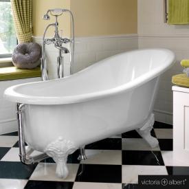 Victoria + Albert Shropshire Freistehende Oval Badewanne weiß glanz/innen weiß glanz, mit weißen QUARRYCAST®  Füßen