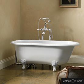 Victoria + Albert Wessex freistehende-Badewanne weiß glanz/innen weiß glanz, mit weißen Metall Füßen