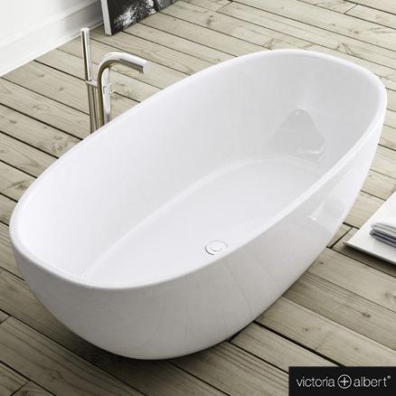Victoria + Albert Amiata Freistehende Oval-Badewanne weiß glanz/innen weiß glanz