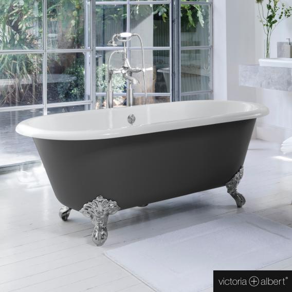 Victoria + Albert Cheshire Freistehende Oval-Badewanne anthrazit/weiß, mit verchromten Metall Füßen