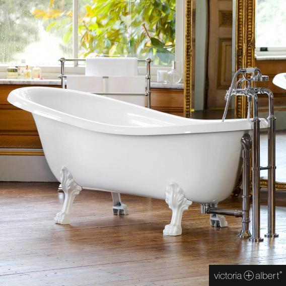 Victoria + Albert Roxburgh Freistehende Oval-Badewanne weiß glanz/innen weiß glanz, mit weißen QUARRYCAST® Füßen