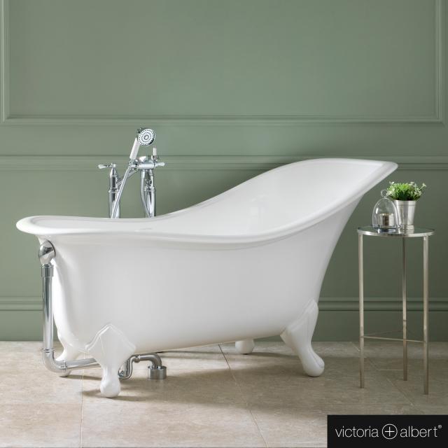 Victoria + Albert Drayton Freistehende Oval-Badewanne weiß glanz/innen weiß glanz, mit weißen QUARRYCAST®  Füßen
