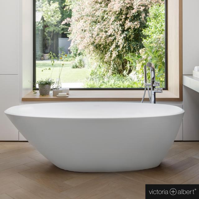 Victoria + Albert Mozzano Freistehende Oval-Badewanne weiß matt/innen weiß matt