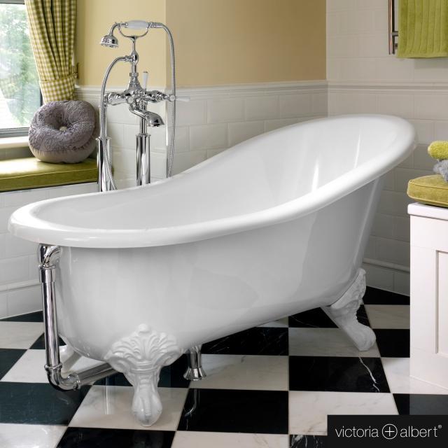 Victoria + Albert Shropshire Freistehende Oval-Badewanne weiß glanz/innen weiß glanz, mit weißen Metall Füßen