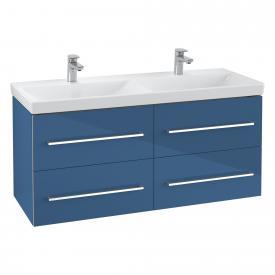 Villeroy & Boch Avento Doppel-Waschtischunterschrank mit 4 Auszügen Front crystal blue / Korpus crystal blue