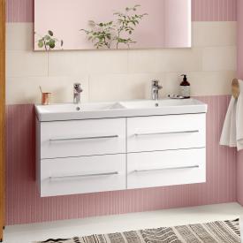Villeroy & Boch Avento Doppelwaschtisch mit Waschtischunterschrank mit 4 Auszügen Front crystal white / Korpus crystal white, WT weiß mit Ceramicplus