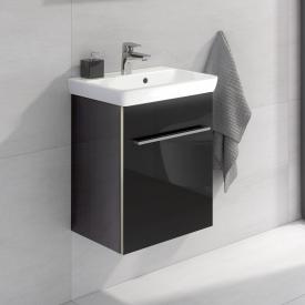 Villeroy & Boch Avento Handwaschbecken mit Waschtischunterschrank mit 1 Tür Front crystal black / Korpus crystal black, WT weiß