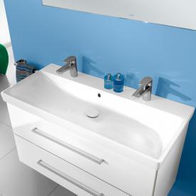 Villeroy & Boch Avento Waschtisch mit Waschtischunterschrank mit 2 Auszügen weiß, mit CeramicPlus, mit 2 Hahnlöchern, mit Überlauf