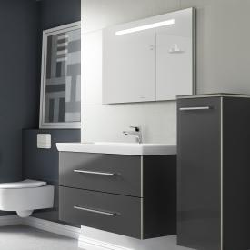 Villeroy & Boch Avento Waschtisch mit Waschtischunterschrank und More to See One Spiegel Front crystal grey/verspiegelt / Korpus crystal grey/aluminium matt