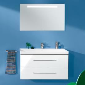 Villeroy & Boch Avento Waschtisch mit Waschtischunterschrank und More to See One Spiegel Front crystal white/verspiegelt / Korpus crystal white/aluminium matt