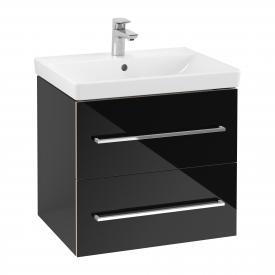 Villeroy & Boch Avento Waschtischunterschrank mit 2 Auszügen Front crystal black / Korpus crystal black