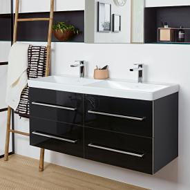 Villeroy & Boch Avento Waschtischunterschrank für Doppelwaschtisch mit 4 Auszügen Front crystal black / Korpus crystal black