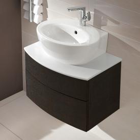 Villeroy & Boch Aveo New Generation Waschtischunterschrank für Handwaschbecken mit 2 Auszügen Front dark oak / Korpus dark oak, Abdeckplatte smokey grey