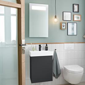 Villeroy & Boch Collaro Handwaschbecken mit Waschtischunterschrank und More to See 14 Spiegel Front black matt/verspiegelt / Korpus black matt/aluminium matt, Türanschlag links