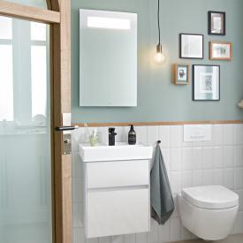 Villeroy & Boch Collaro Handwaschbecken mit Waschtischunterschrank und More to See 14 Spiegel Front glossy white/verspiegelt / Korpus glossy white/aluminium matt, Griffmulde weiß matt
