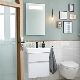 Villeroy & Boch Collaro Handwaschbecken mit Waschtischunterschrank und More to See 14 Spiegel Front weiß matt/verspiegelt / Korpus weiß matt/aluminium matt, Griffmulde weiß matt