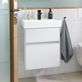Villeroy & Boch Collaro Handwaschbeckenunterschrank mit 2 Auszügen Front weiß matt / Korpus weiß matt, Griffmulde weiß matt