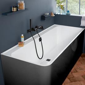 Villeroy & Boch Collaro Rechteck-Badewanne mit Verkleidung weiß/coal black, Ab-/Überlaufgarnitur black matt