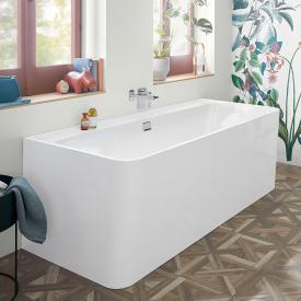Villeroy & Boch Collaro Vorwand-Badewanne mit Verkleidung weiß/weiß, Ab-/Überlaufgarnitur chrom
