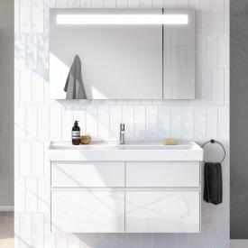 Villeroy & Boch Collaro Waschtisch mit Waschtischunterschrank und More to See 14 Spiegel Front glossy white/verspiegelt / Korpus glossy white/aluminium matt, Griffmulde weiß matt