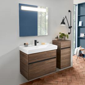 Villeroy & Boch Collaro Waschtisch mit Waschtischunterschrank und More to See 14 Spiegel Front arizona oak/verspiegelt / Korpus arizona oak/aluminium matt, Griffmulde anthrazit matt