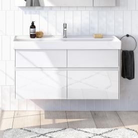 Villeroy & Boch Collaro Waschtischunterschrank mit 4 Auszügen Front glossy white / Korpus glossy white, Griffmulde weiß matt