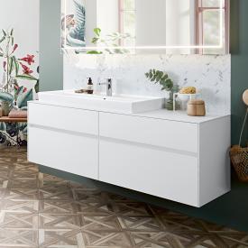 Villeroy & Boch Collaro Waschtischunterschrank mit 4 Auszügen Front weiß matt / Korpus weiß matt, Abdeckplatte weiß matt, Griffmulde weiß matt