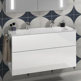 Villeroy & Boch Finion Doppel-Möbelwaschtisch starwhite mit CeramicPlus, mit 2 Hahnlöchern, ohne Überlauf