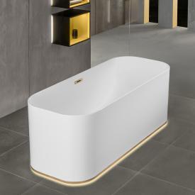 Villeroy & Boch Finion freistehende Badewanne mit Emotion-Funktion weiß, champagner, mit integriertem Wassereinlauf, mit Design-Ring