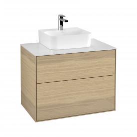 Villeroy & Boch Finion LED-Handwaschbeckenunterschrank mit 2 Auszügen Front oak veneer / Korpus oak veneer, Abdeckplatte white matt