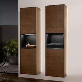 Villeroy & Boch Finion LED-Hochschrank mit 2 Türen, Regalelement mittig Front walnut / Korpus walnut/black matt