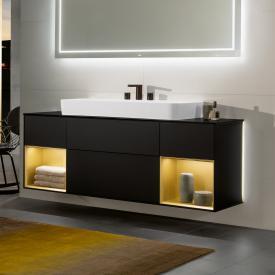 Villeroy & Boch Finion LED-Waschtischunterschrank für Aufsatzwaschtisch mit 4 Auszügen, Regalelement links & rechts Front black matt / Korpus black matt/gold matt, Abdeckplatte black matt