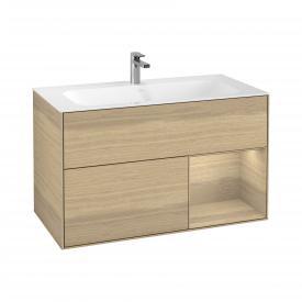 Villeroy & Boch Finion LED-Waschtischunterschrank mit 2 Auszügen, Regalelement rechts Front oak veneer / Korpus oak veneer
