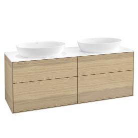 Villeroy & Boch Finion LED-Waschtischunterschrank für 2 Aufsatzwaschtische mit 4 Auszügen Front oak veneer / Korpus oak veneer, Abdeckplatte white matt