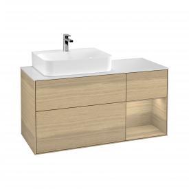 Villeroy & Boch Finion LED-Waschtischunterschrank für Aufsatzwaschtisch mit 3 Auszügen, Regalelement rechts Front oak veneer / Korpus oak veneer, Abdeckplatte white matt