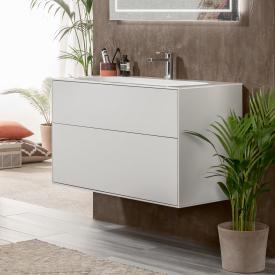 Villeroy & Boch Finion Waschtisch mit LED-Waschtischunterschrank mit 2 Auszügen weiß, mit CeramicPlus, mit 1 Hahnloch, mit verdecktem Überlauf