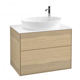 Villeroy & Boch Finion Waschtischunterschrank für Aufsatzwaschtisch mit 2 Auszügen Front oak veneer / Korpus oak veneer, Abdeckplatte white matt