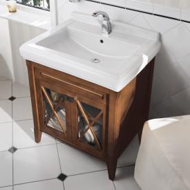 Villeroy & Boch Hommage Waschtischunterschrank mit Waschtisch und 2 Türen Front nussbaum / Korpus nussbaum, starwhite mit CeramicPlus, Griff schwarz matt