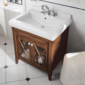 Villeroy & Boch Hommage Waschtischunterschrank mit Waschtisch und 2 Türen Front nussbaum / Korpus nussbaum, weiß mit CeramicPlus, Griff chrom