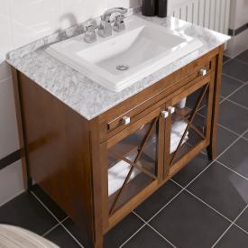 Villeroy & Boch Hommage Waschtischunterschrank mit Waschtisch, 2 Türen und 1 Auszug Korpus Nussbaum, Front Nussbaum, starwhite mit CeramicPlus, Griff starwhite