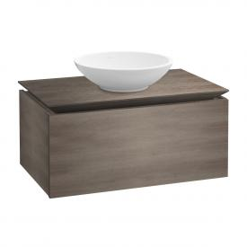 Villeroy & Boch Legato Waschtischunterschrank für Aufsatzwaschtisch mit 1 Auszug Front eiche graphit / Korpus eiche graphit