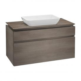 Villeroy & Boch Legato Waschtischunterschrank für Aufsatzwaschtisch mit 2 Auszügen Front eiche graphit / Korpus eiche graphit