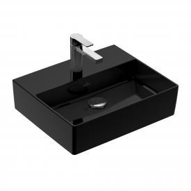 Villeroy & Boch Memento 2.0 Handwaschbecken glossy black, mit CeramicPlus, mit 1 Hahnloch, ohne Überlauf, geschliffen