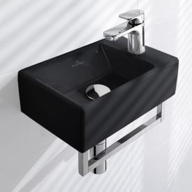 Villeroy & Boch Memento Handwaschbecken glossy black, mit CeramicPlus, ungeschliffen