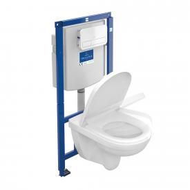 Villeroy & Boch O.novo Wand-Tiefspül-WC Combi-Pack ViConnect, offener Spülrand, mit WC-Sitz Drückerplatte weiß