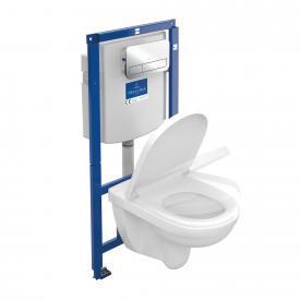Villeroy & Boch O.novo Wand-Tiefspül-WC offener Spülrand, WC-Sitz, Combi-Pack ViConnect Drückerplatte chrom